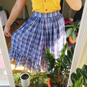 Dresses & Skirts - Vintage blue red gold plaid full boho midi skirt